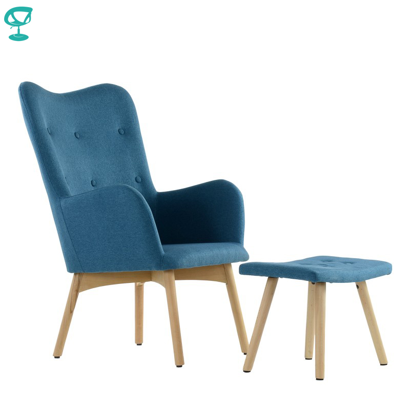 K101WdFbBlue Barneo K-101 Fabric Interior Lounge Chair With Ottoman Wood Legs Blue Living Room Furniture Free Shipping In Russia