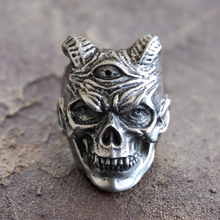 EYHIMD Plague Devil Skull Rings Mens Three Eyed Demon Stainless Steel Ring Punk Rock Biker Jewelry