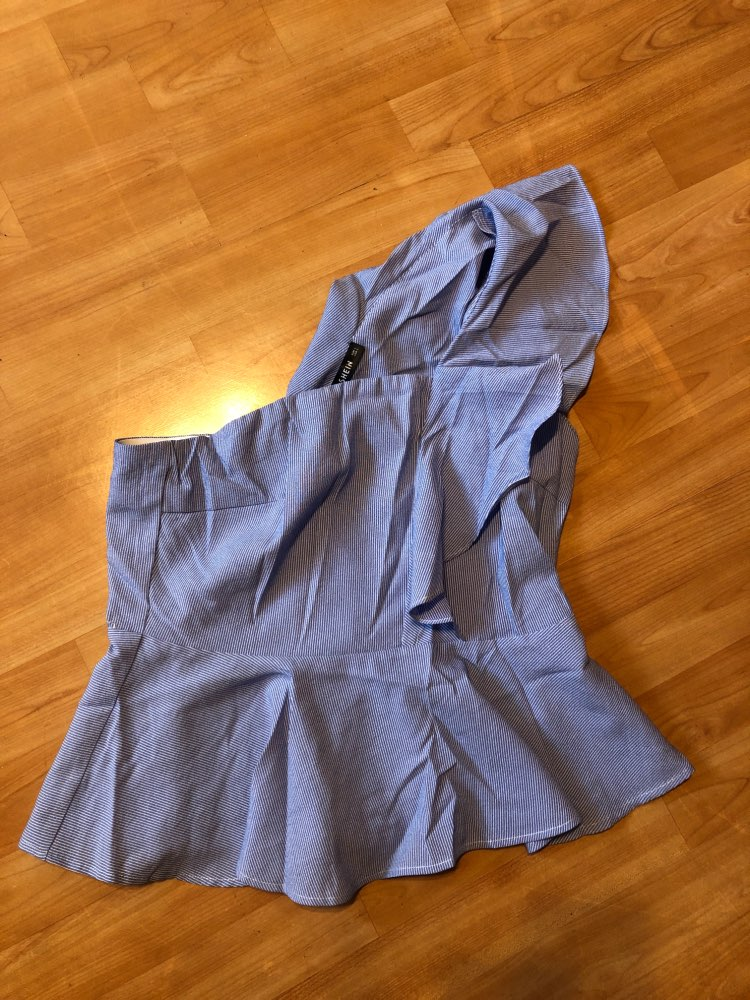 Blue Exaggerate Ruffle Trim Peplum Striped Blouse Summer One Shoulder Going Out Elegant Womens Tops And Blouses photo review