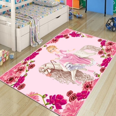 Else Pink Princess On Horses Flowers Frame Girl 3d Print Non Slip Microfiber Children Kids Room Decorative Area Rug Kids  Mat