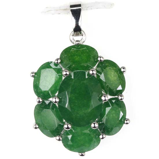 Deluxe Real Green Emerales Woman's Wedding Silver Pendant 27x17mm