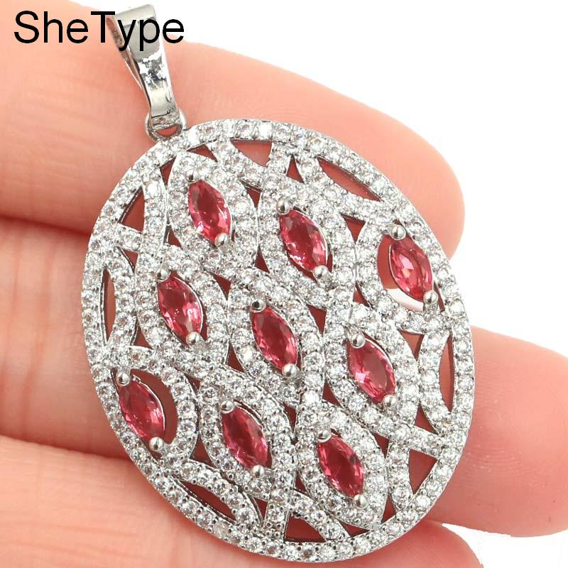 Fantastic Pink Raspberry Rhodolite Garnet White CZ Gift For Woman 39 s Silver Pendant 38x25mm in Pendants from Jewelry amp Accessories