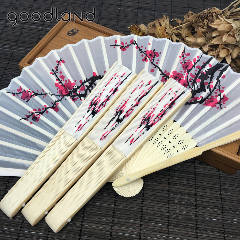 Free Shipping 30pcs White Plum Flower Pattern Fans Wedding Gifts for ...