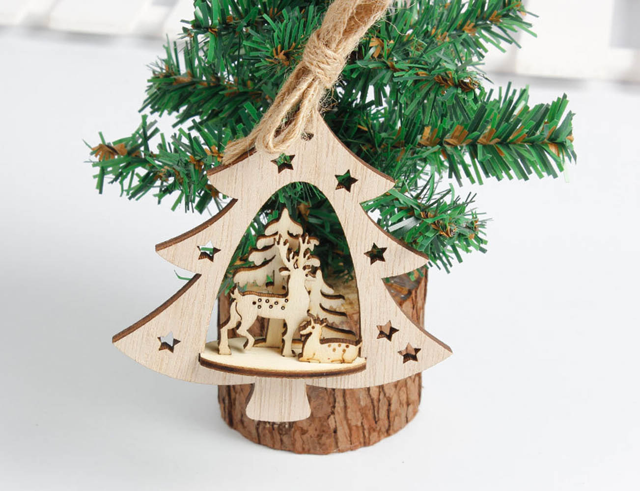 Weihnachtsdekoration Holz Herz Baum Glocke Hängen Dekor Weihnachten  Dreidimensionale Dekoration Für Haus Stereo Weihnachtsbaum Anhänger In ...