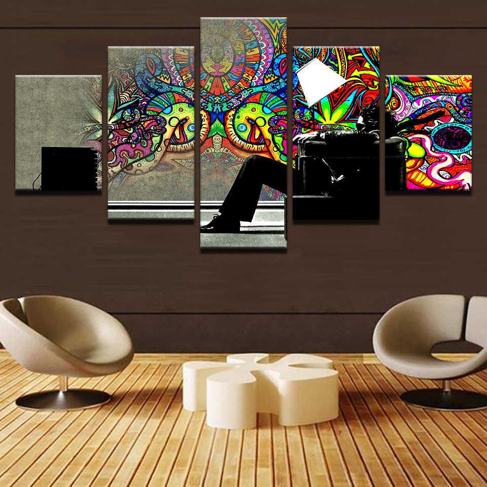 Аннотация плакат 5 штук психоделический картины граффити картины напечатанные на холсте Современная живопись картина стены дома Декор Гостиная