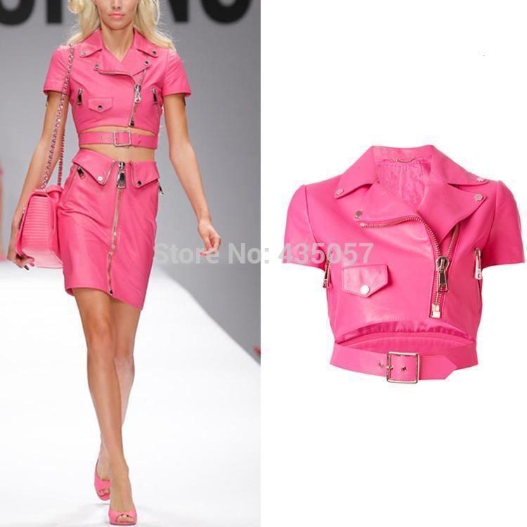 2019 Summer Fashion Women's Slim Motorcycle Leather Jacket Spring Autumn Women Pu Leather Trench Coat Pink Black