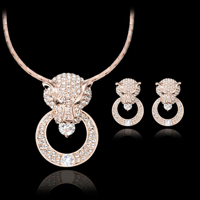 2018 New Leopard head Big Sale Wedding Jewelry Sets for Women Rose