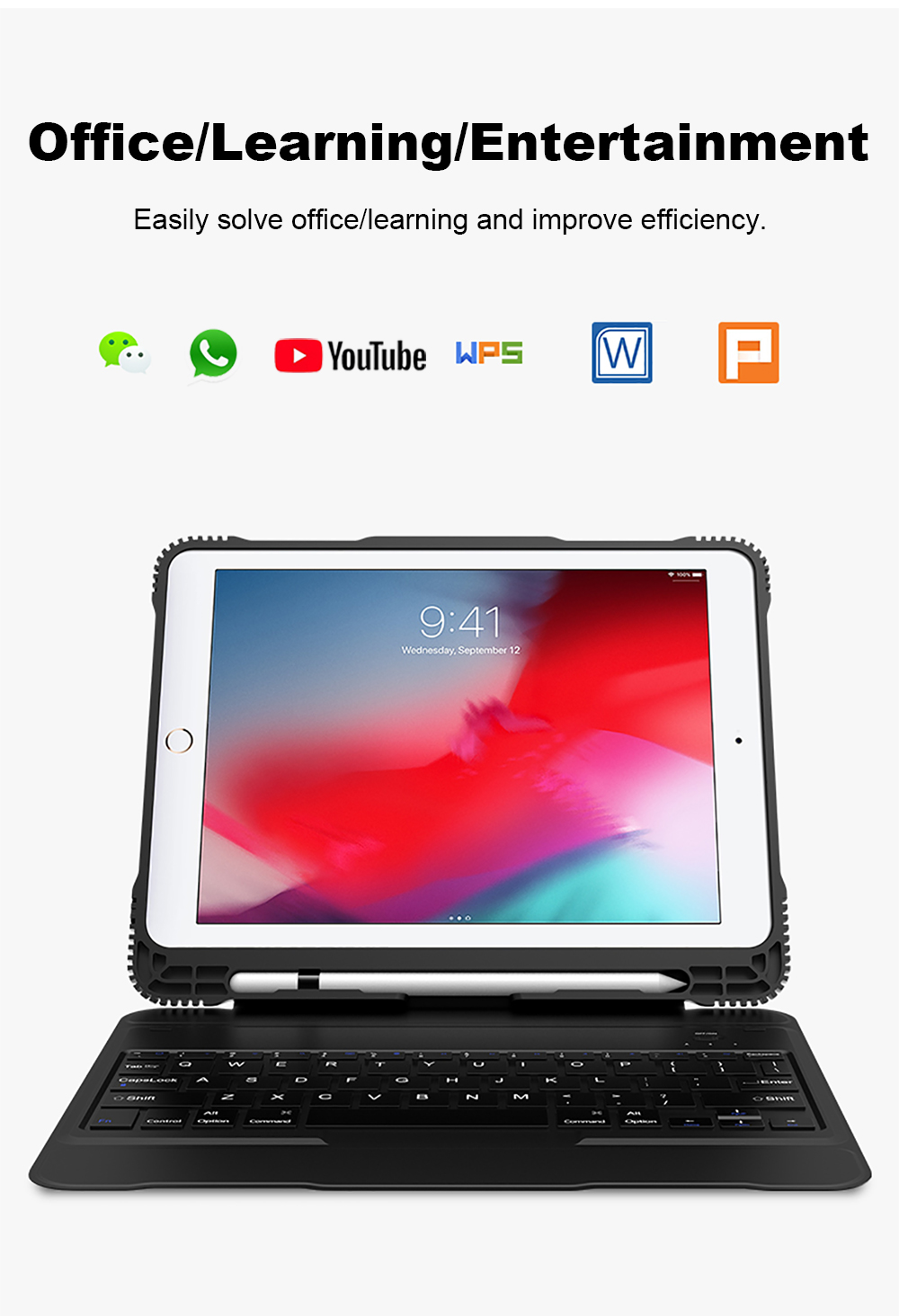 Smart Keyboard Case For iPad 2018 2017 5th 6th Air 1 2 Detachable Design Wireless Bluetooth Teclado Cover For iPad Pro 10.5 9 (9)