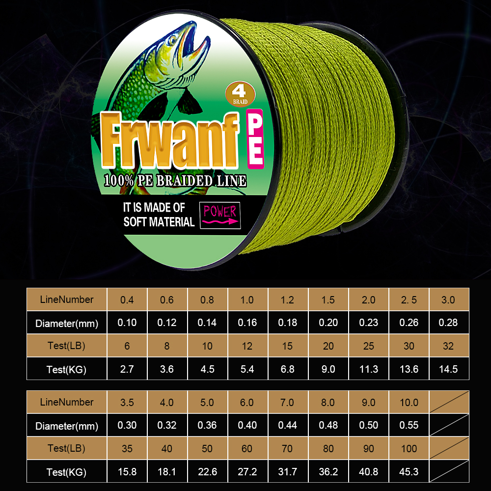 Frwanf 4 Braid 100M PE Braided Fishing Line 4 Strand Super Strong Japan Multifilament Thread for Carp Fishing 6LB-100LB