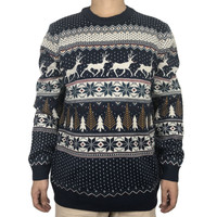 Funny Light Up Ugly Christmas Sweater For Men And Women Vintage Reindeer Navy Blue Male Xmas