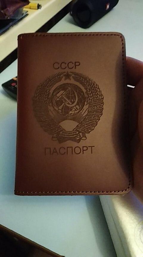 Nationaal embleem van Sovjet-Unie Paspoort Cover CCCP Reiskaart Portemonnee Echt leer Russische paspoort portemonnee voor mannen en vrouwen photo review