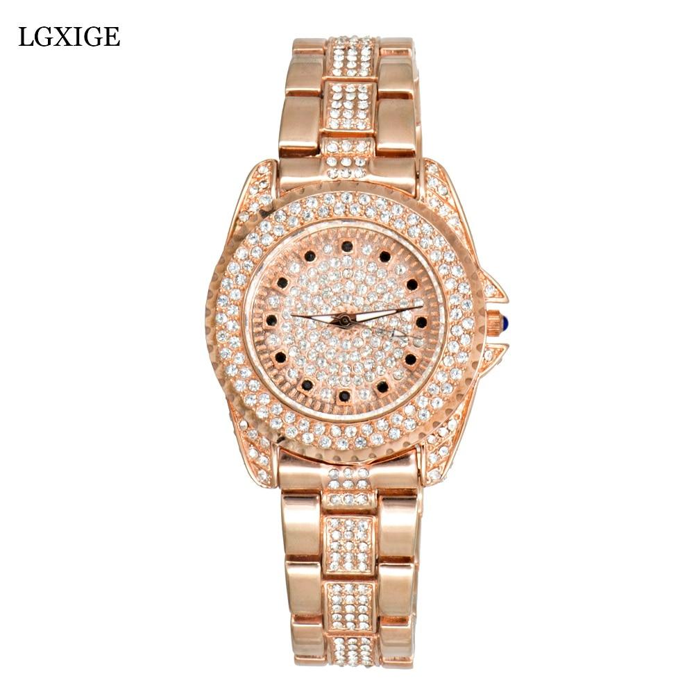 LGXIGE Top brand Diamond Rose Gold Women Rhinestone Watch Female Fashion Steel Women Quartz Bling Dress Watch for Ladies Clock