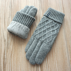 Winter Fashion Male Gloves Men Knitted Wool Warm Mittens Male Double Thick Velvet Warm Comfortable Driving Gloves Free shipping
