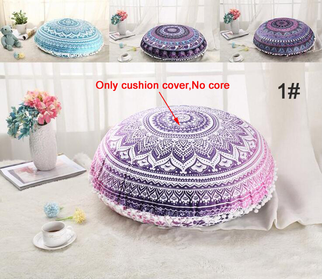 Large Mandala Floor Pillowcase Round Bohemian Meditation Cushion ...