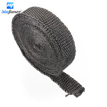 4.5m x 2.5cm x 2mm Car Motorcycle Exhaust Heat Pipe Header Wrap Manifold Fiberglass Insulating Blue Black