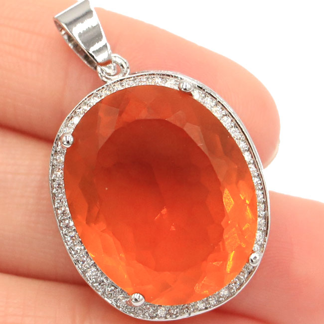 Big Oval Gemstone 22x18mm Golden Yellow Citrine Natural White CZ Party Silver Pendant 25x20mm