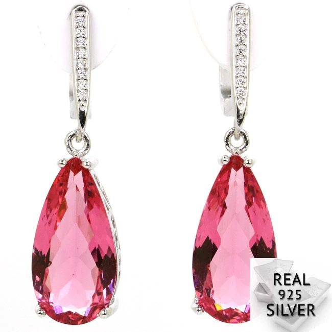 7.4g Real 925 Solid Sterling Silver Deluxe Top Drop Shape Green Peridot Pink Morganites CZ Earrings 36x10mm