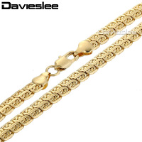 7mm 49.4cm Double Snail Link Mens Chain Womens Unisex Boys Yellow Gold Filled GF Necklace Wholesale Jewelry Gift LGN366
