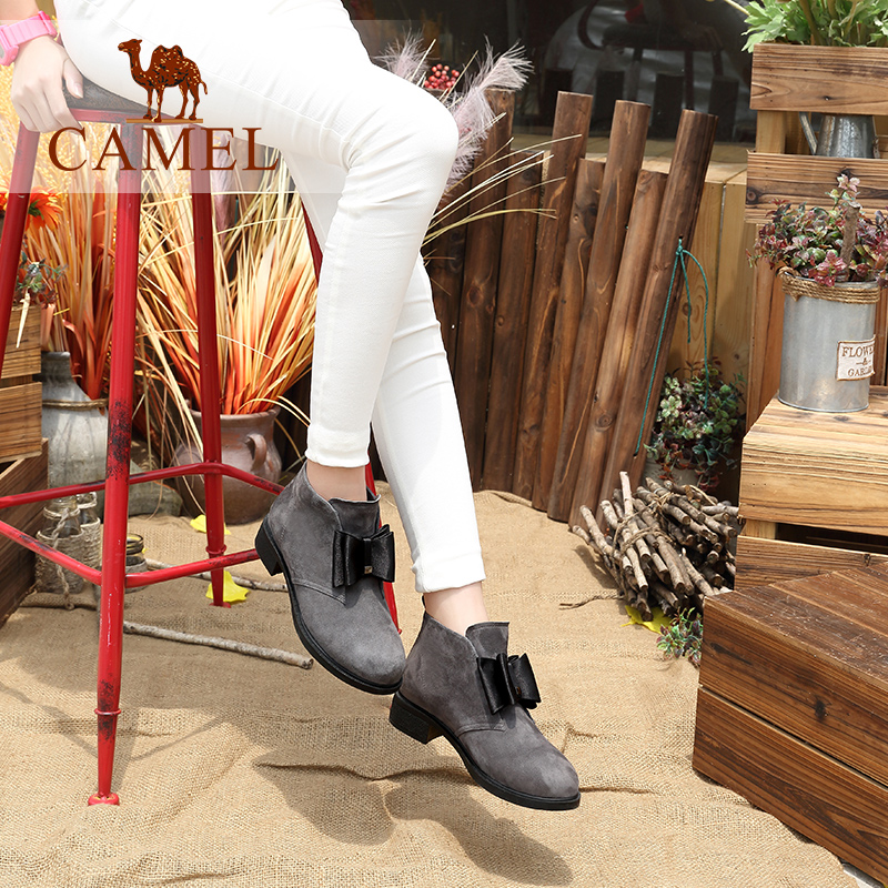 CAMEL Hot Winter Women Boots Scrub Leather Short Boots Cow Suede Fashion Casual Wild Shoes Women Velvet Ankle Low Heel Boots camel camel boots cowhide thick heel rivet velvet fashion pointed toe boots vintage casual thermal boots