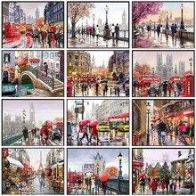 Borduurwerk Geteld Borduurpakketten Handwerken Ambachten 14 ct DMC Kleur DIY Arts Handgemaakte Decor Londen Parijs Nieuwe york