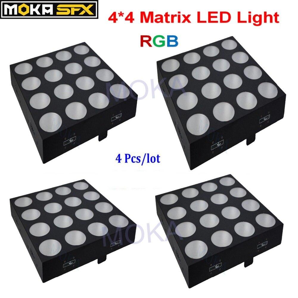 4 шт. 4*4 Матрица светодиодные фонари RGB DMX перемещение головы луч света оборудование для диско бар для ночного клуба Свадебные этап вечерние у