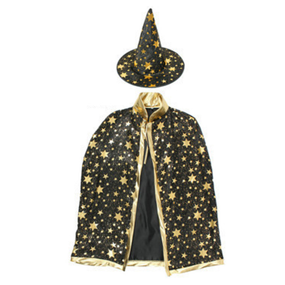 Girls Boys Kids Gilding Star Cloak Party Hat Witch Halloween Fancy Party Prop