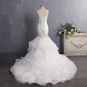 Image 3 - Vestido De Novia 2020 Vintage Beading Mermaid Wedding Dress Long Organza Embroidery Wedding Gown Sexy Backless Bridal Dress