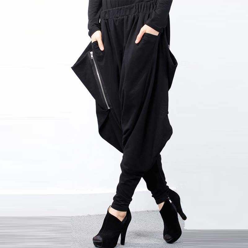 ZANZEA Vrouwen Zwarte Elastische Taille Baggy Lage Kruis Broek Zakken Onregelmatige Gothic Lange Pantalon Hiphop Harembroek Plus Size