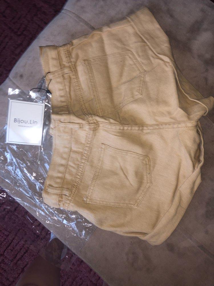 Casual Blue Denim Shorts Women Sexy High Waist Buttons Pockets Slim Fit Shorts Summer Beach Streetwear Jeans Shorts photo review