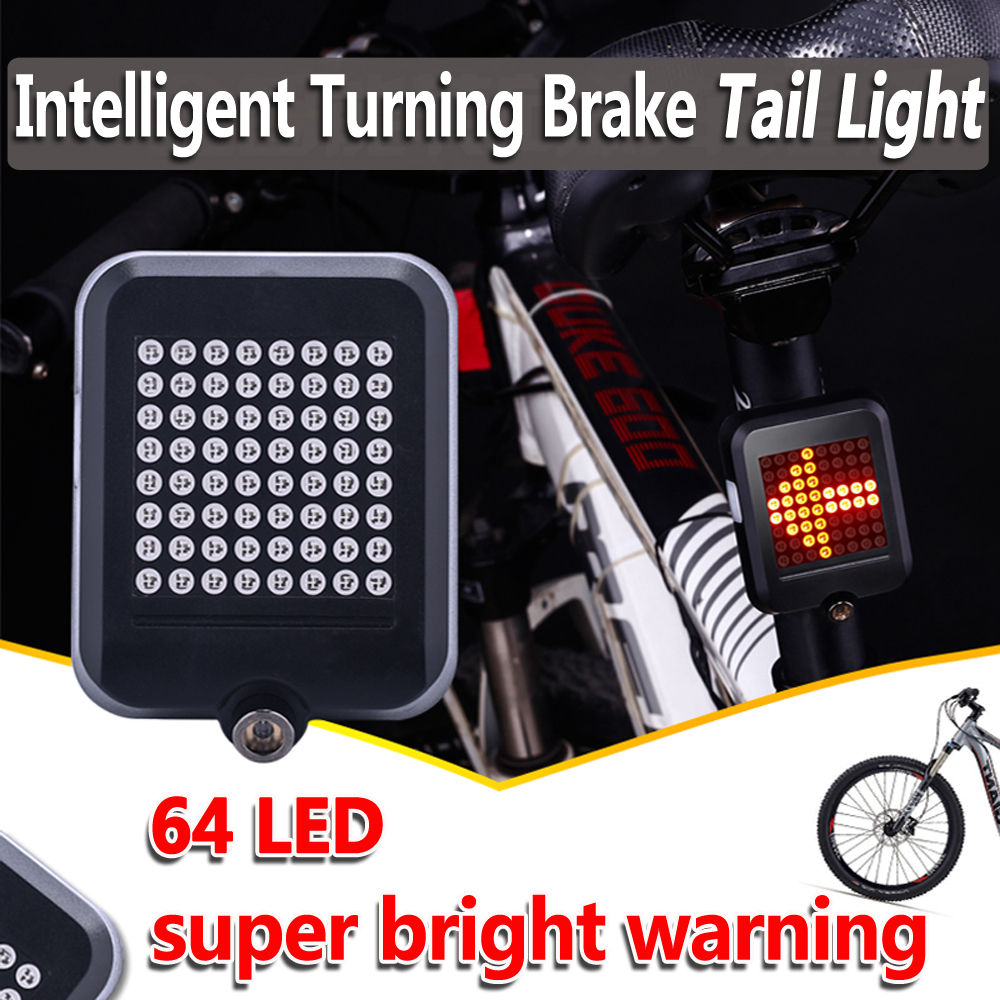 LED Bicycle Rear Taillight With Laser USB Rechargeable MTB Bike Brake Light Intelligent Turn Signals Safety Warning Tail Light beginagain smart bike wireless laser rear light bicycle remote control turn light safety led warning tail light usb charge