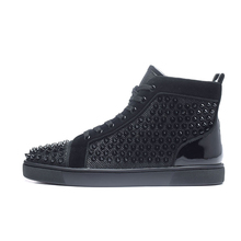 Men Shoes Studded Footwear Spikes High-Top Real-Leather Fashion-Brand Glitter for Man