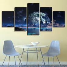 Canvas Living Room Wall Art Abstract Pictures HD Prints 5 Pieces Lunar Starry Sky Mountain Lake Paintings Moon Home Decor Draw брюки sky lake sky lake mp002xb0079t