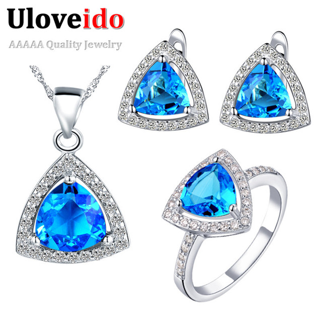 Vintage Red Blue Purple Crystal Ring Necklace and Earrings Wedding Jewelry Sets For Women Accessories Valentine's Day Ulove T250