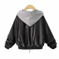 フード付きジャケット傾斜ポケットジッパーロングスリーブコントラスト色スプライス人工レザーレジャーレトロモトコート冬プラスサイ