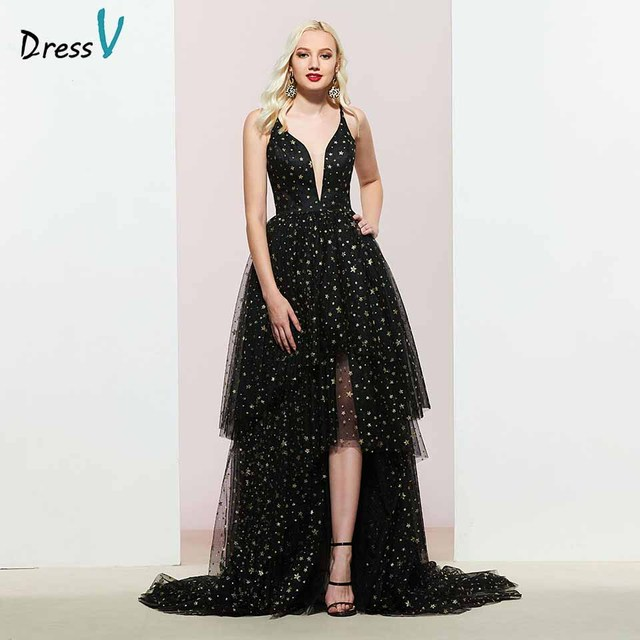 c7ab599996be Dressv nero con scollo a v abito da sera una linea elegante senza maniche  pavimento-lunghezza da cerimonia nuziale a file del partito del vestito ...