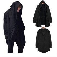 PADEGAO mens long Hooded Sweatshirts Cardigan coat black gray cotton HipHop Hoodies jacket Mantle gown high street hoody Cloak