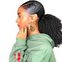 Afro Kinky Curly Hair Ponytail 4B 4C 1 Piece Clip In Ponytails Human Hair Natural Black Remy Hair