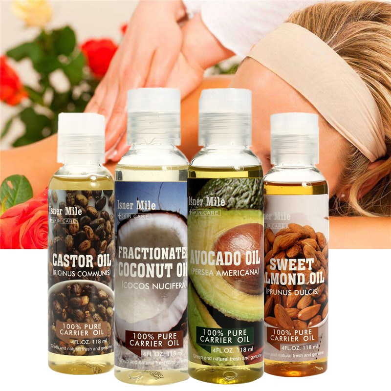Almond Avocado Coconut Essential Oil 100% Natural Massage Spa Cold Pressed Moisturiser Castor Oil Hydrating Hair Care