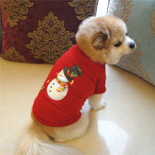 Lovely Dog Pet Clothes T-shirt Short Sleeve Puppy Christmas Snowman Apparel