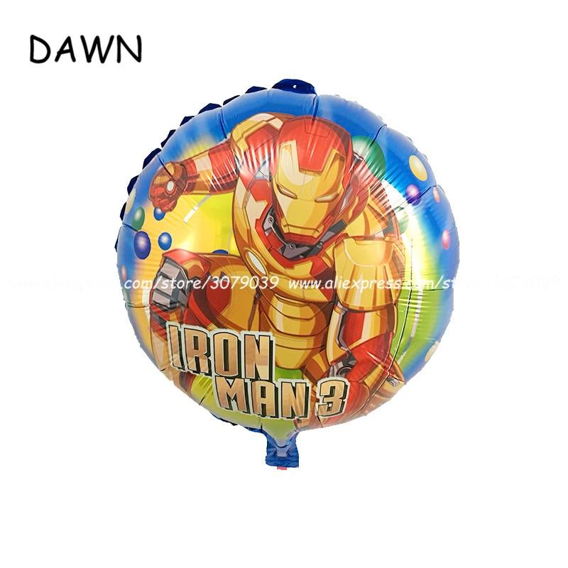En gros 50 pcs/lot 18 pouces dessin animé rond fer homme en aluminium ballon fête d'anniversaire décoration enfants jouet ballons à l'hélium