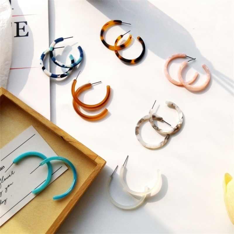 2018 Japanse en Koreaanse Acetaat C Vorm Oorbellen Fashion Overdreven Luipaard Bruin Geometrische Oorbellen Vrouwen Harajuku Oorbellen