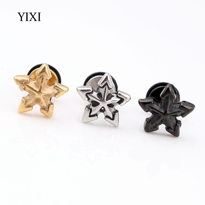 YIXI 2 Pcs Luxury Men Stud Earrings Steel Punk 10mm Star Stainless Steel Unisex Jewelry Pendientes Brincos Women Mens Earrings