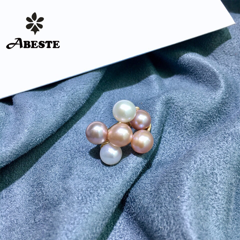 ANI 14K Roll Gold Handmade Women Ring Natural Freshwater Pink and White Pearl oorbellen Roll Gold bague fine Engagement Jewelry ani 14k roll gold handmade women bracelet freshwater white pearl oorbellen roll gold boucle d oreille design fine jewelry