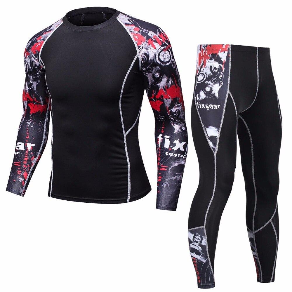 Men's Brand 2 Piece Set Tracksuit Men 2018 New MMA Rashguard Union Mens Track Suit Compression Crossfit Clothing Top Sweat Suits