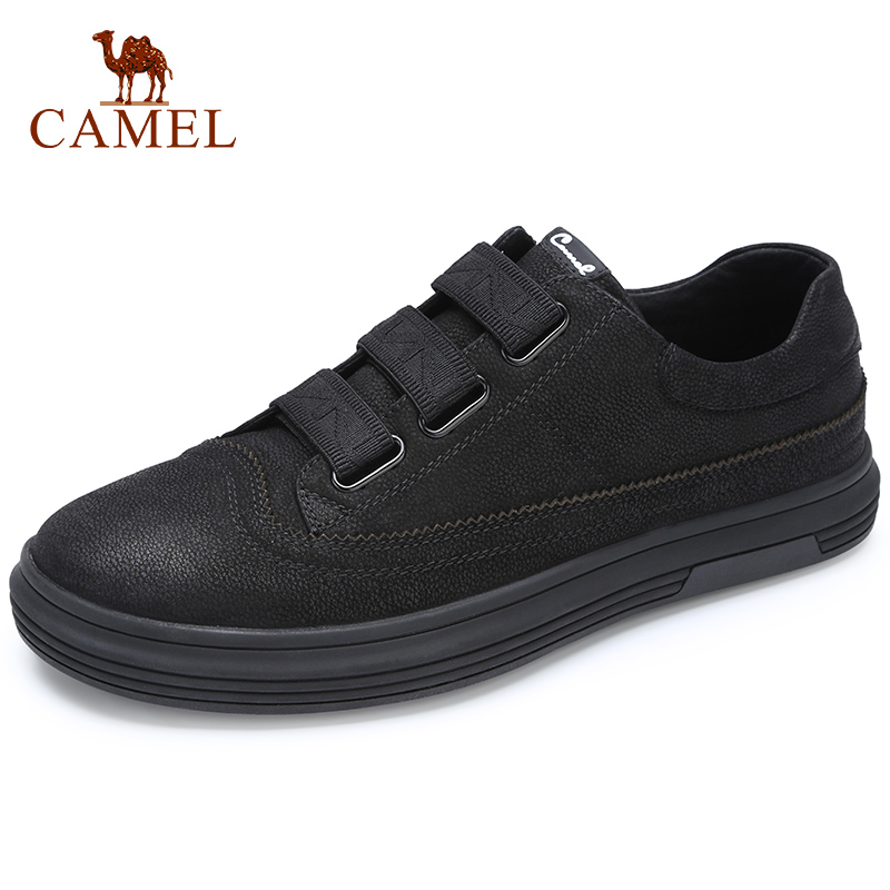 CAMEL New Black Men's Shoes Genuine Leather Fashion Casual Shoes Men Matte Trend British Wild Man Flats Footwear-in Men's Casual Shoes from Shoes    1
