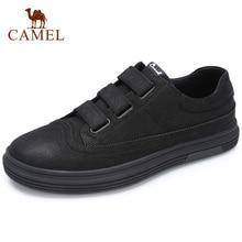 CAMELO Sapatos de Couro Genuíno dos homens Negros Novos sapatos Da Moda Sapatos Casuais Homens Tendência Fosco Selvagem Britânica Homem Flats Calçado