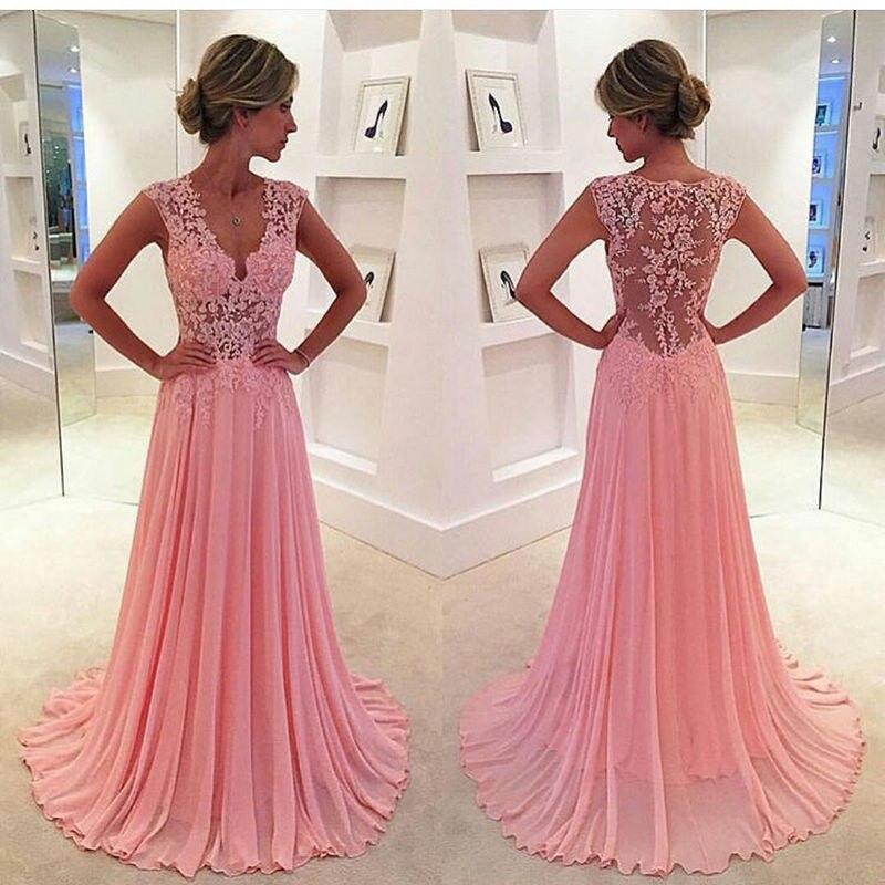 Blush Bridesmaid Dress Cap Sleeves V Neckline A Line Chiffon Sheer Pink Dinner Dress 2018 Women Dress Elegant Wedding