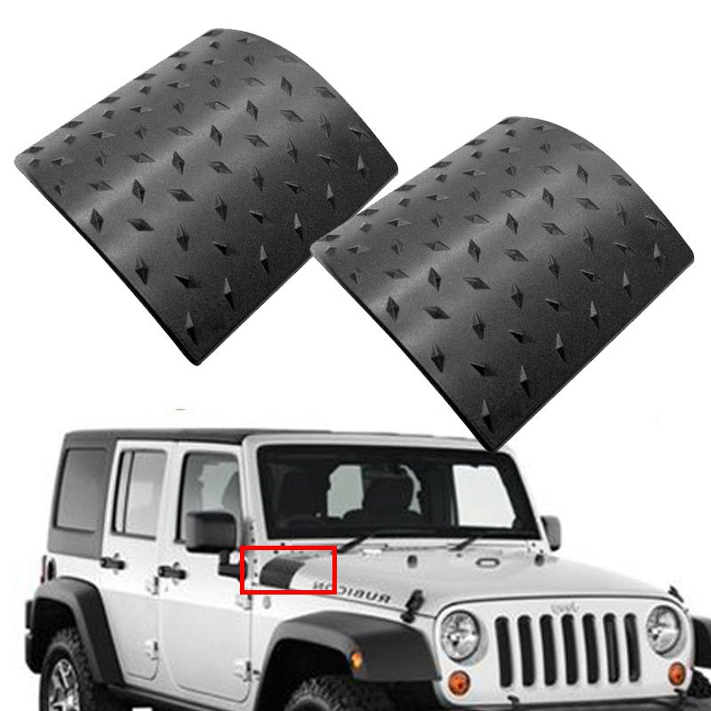 2-Piece Black Cowl Body Armor Outer Cowling Cover for Jeep Wrangler Rubicon Sahara Jk Unlimited 2007-2017