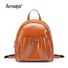 Arnagar Новый Для женщин школьный рюкзак высокое качество сплошной цвет Сумки натуральная кожа Сумки на плечо для подростков Обувь для девочек 4 цвета