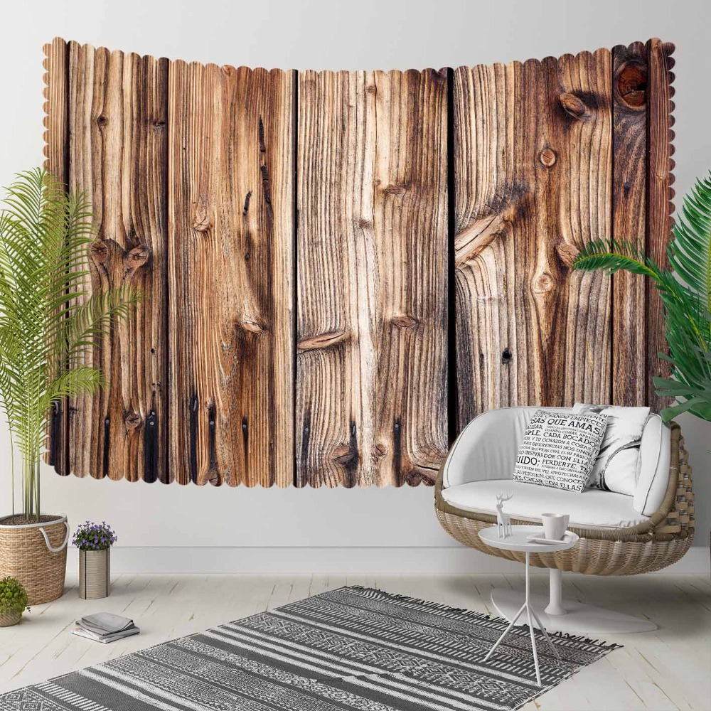 Else Brown Black Lines Tree Aging Vintage Wooden 3D Print Decorative Hippi Bohemian Wall Hanging Landscape Tapestry Wall Art